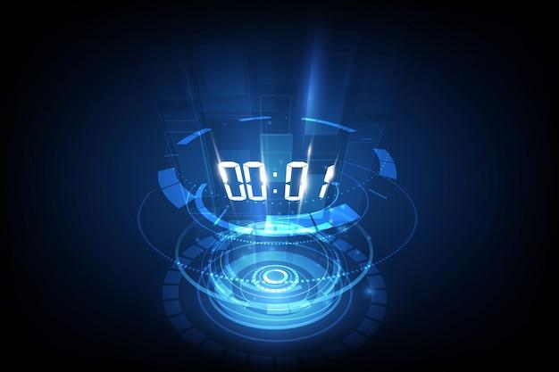 Abstrakcjonistyczny futurystyczny technologii tło z cyfrowym numerowym zegarem i odliczanie