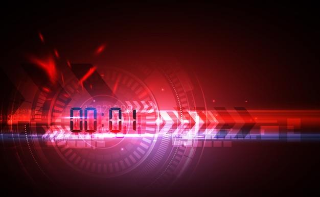 Abstrakcjonistyczny futurystyczny technologii tło z cyfrowym numerowym zegarem