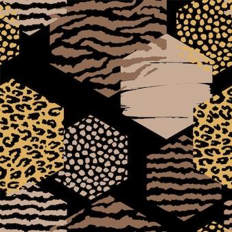 Abstrakcjonistyczny geometryczny bezszwowy wzór z zwierzęcym drukiem i sześciokątami.