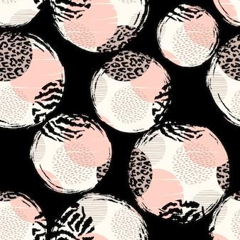Abstrakcjonistyczny geometryczny bezszwowy wzór z zwierzęcymi teksturami.