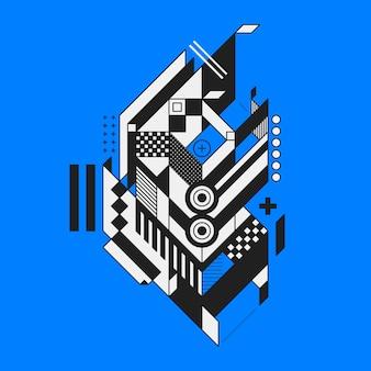 Abstrakcjonistyczny geometryczny element na błękitnym tle. styl futuryzmu i konstruktywizmu. przydatny jako odbitki lub plakaty.