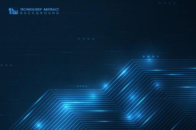 Abstrakcjonistyczny gradientowy błękitny futurystyczny kreskowy technologii tło.