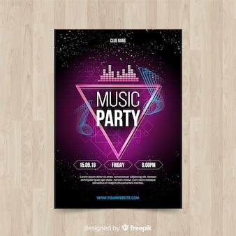 Abstrakcjonistyczny gradientowy muzyczny plakatowy szablon