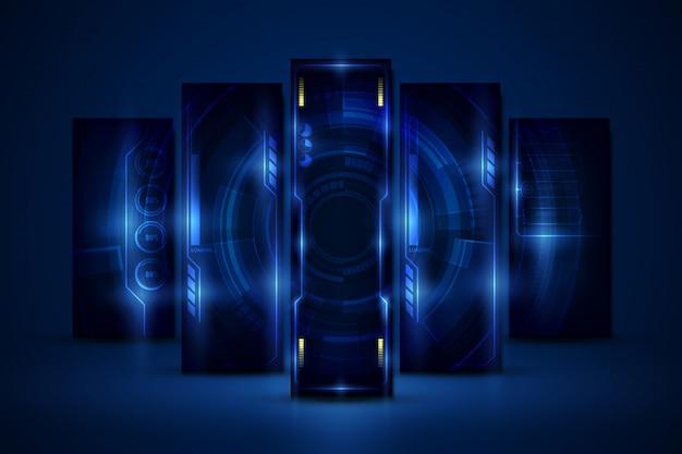 Abstrakcjonistyczny hud ui gui przyszłościowego futurystycznego parawanowego systemu projekta wirtualny tło