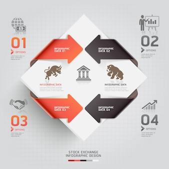 Abstrakcjonistyczny infographic biznesowy giełda papierów wartościowych szablon.