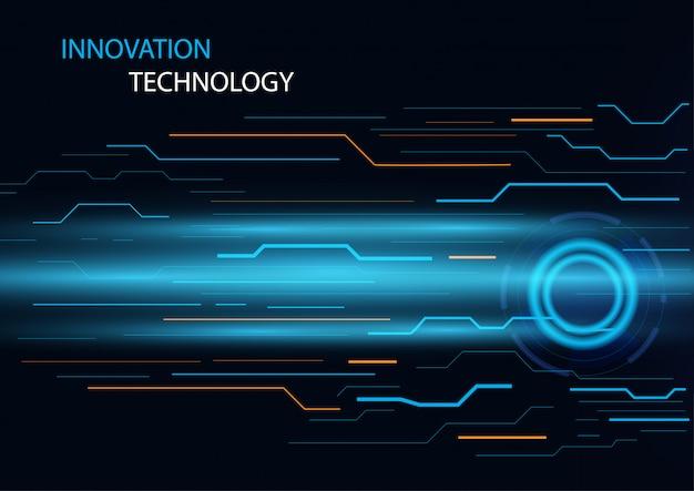 Abstrakcjonistyczny innowaci i technologii pojęcie z obwód linii projekta pojęcia tłem.