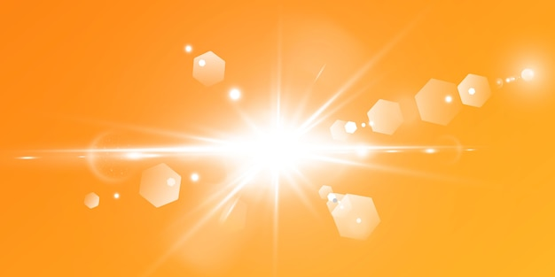 Abstrakcjonistyczny Iskrzasty Racy Obiektyw Z Iskrzastym Słońcem Na żółtym I Pomarańczowym Tle. Ciepłe Słońce Pełne Naturalnych Promieni Blasku. Izolowany. Premium Wektorów