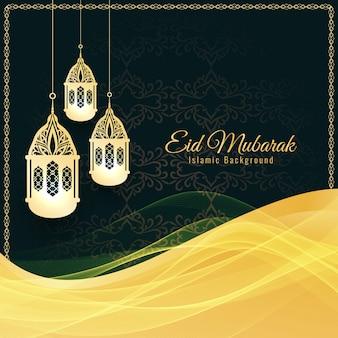 Abstrakcjonistyczny Islamski Eid Mubarak dekoracyjny tło