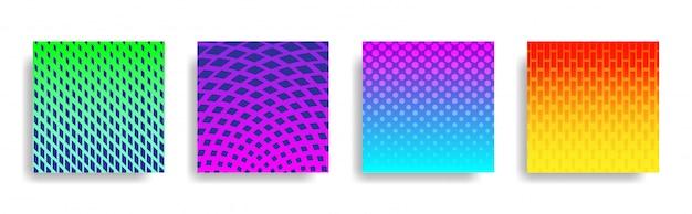 Abstrakcjonistyczny kolorowy halftone geometryczny kształtów tła set