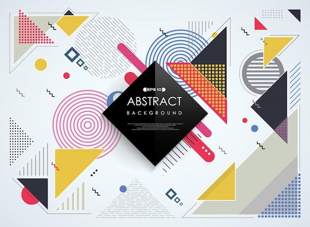 Abstrakcjonistyczny kolorowy memphis geometryczny deseniowy tło.