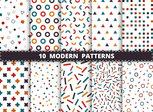 Abstrakcjonistyczny kolorowy nowożytny geometryczny wzór ustawiający na białym tle. dekorowanie pod kątem stylu geometrycznego projektowania grafiki, reklamy, pakowania, drukowania.