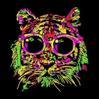 Abstrakcjonistyczny kolorowy tygrys z szkłami