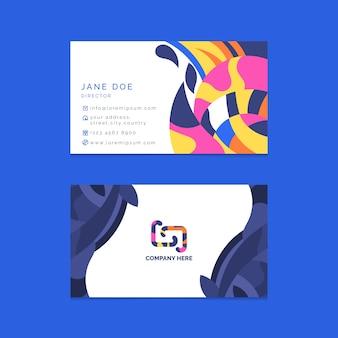 Abstrakcjonistyczny kolorowy wizytówka szablonu projekt