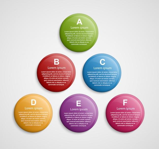 Abstrakcjonistyczny koloru okręgu infographic projekta szablon.