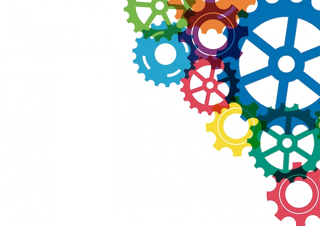 Abstrakcjonistyczny kreatywnie kolorowy przekładnia koła mechanizmu tło