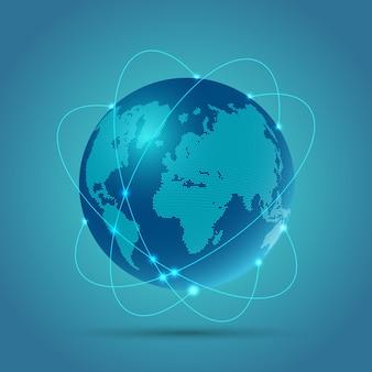 Abstrakcjonistyczny kuli ziemskiej tło przedstawia komunikacje sieciowe