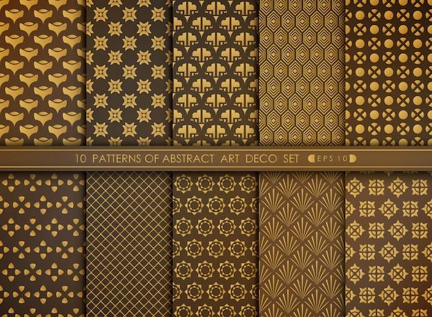 Abstrakcjonistyczny kwiecisty stylowy antyk złoty art deco wzoru set.