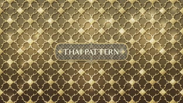 Abstrakcjonistyczny łączący złocisty tajlandzki wzór