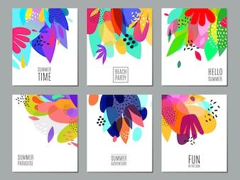 Abstrakcjonistyczny lato reklamy sztandarów kolekci plakat