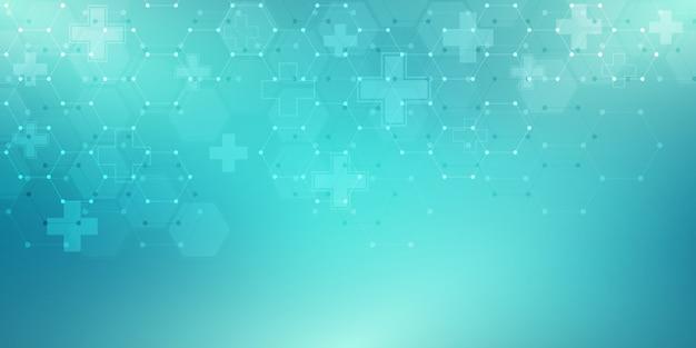 Abstrakcjonistyczny medyczny tło z sześciokąta wzorem. koncepcje i pomysły dotyczące technologii opieki zdrowotnej, medycyny innowacji, zdrowia, nauki i badań.