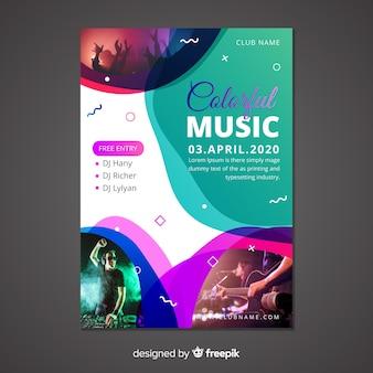 Abstrakcjonistyczny muzyczny plakatowy szablon z fotografią