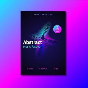 Abstrakcjonistyczny muzyczny plakatowy szablon z gradientowym kształtem.