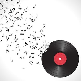 Abstrakcjonistyczny muzyczny tło z notatkami i winylem