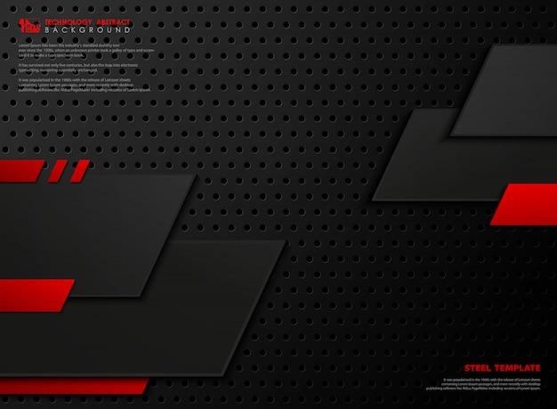Abstrakcjonistyczny nowożytny czerwieni i czerni stal projektuje tło.