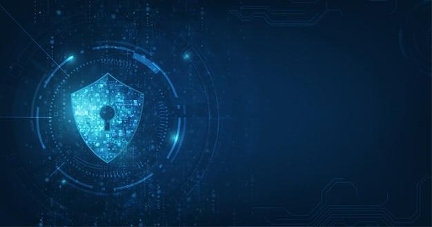 Abstrakcjonistyczny ochrony technologii cyfrowej błękita tło.