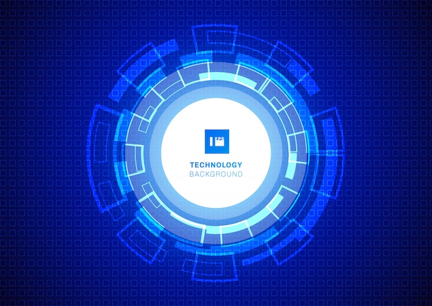 Abstrakcjonistyczny okrąg technologii cyfrowej błękita tło.