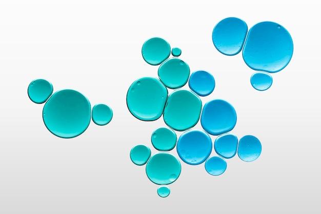 Abstrakcjonistyczny olejowy płynny bąbelkowy makro strzał niebieski wektor