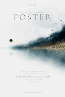 Abstrakcjonistyczny plakat z pięknym akwarela krajobrazem