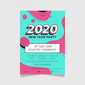 Abstrakcjonistyczny plakatowy szablonu nowego roku 2020 przyjęcie