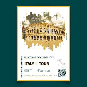 Abstrakcjonistyczny podróżny plakat z fotografią italy