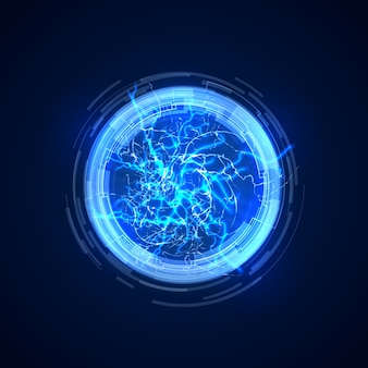 Abstrakcjonistyczny portal z elektryczną błyskawicą. ilustracja wektorowa komunikacji w przyszłości