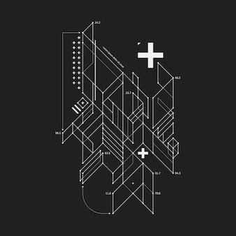 Abstrakcjonistyczny projekta element w szkicu stylu na czarnym tle. przydatny w przypadku druków i plakatów techno.