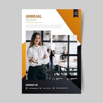 Abstrakcjonistyczny rocznego raportu szablon z obrazkiem