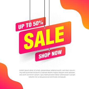 Abstrakcjonistyczny sprzedaż sztandar z pomarańczowym gradientem dla specjalnych ofert, sprzedaży i rabatów ilustracyjnych