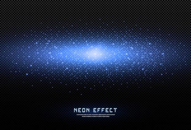 Abstrakcjonistyczny świąteczny tło robić małe neonowe cząsteczki pyłu. światło neonowe. wybuch iskrzącego pyłu. eksplozja kosmiczna. jasne światło ma zastosowanie do projektowania gier, różnych banerów, plakatów.