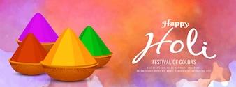 Abstrakcjonistyczny Szczęśliwy Holi kolorowy sztandaru szablon