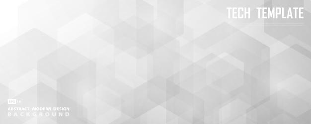Abstrakcjonistyczny szeroki biały i szary sześciokątny technologia projekt dekoraci tło.