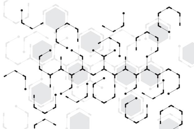 Abstrakcjonistyczny sześciokąt z białym tłem