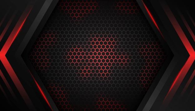Abstrakcjonistyczny sześciokąta czerwone światło na ciemnym tle.