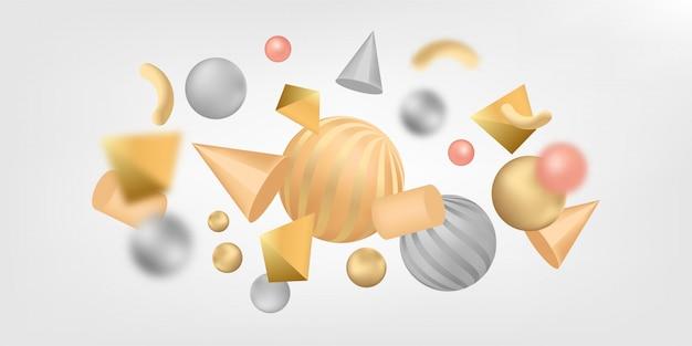 Abstrakcjonistyczny sztandaru tło z 3d kształtami.