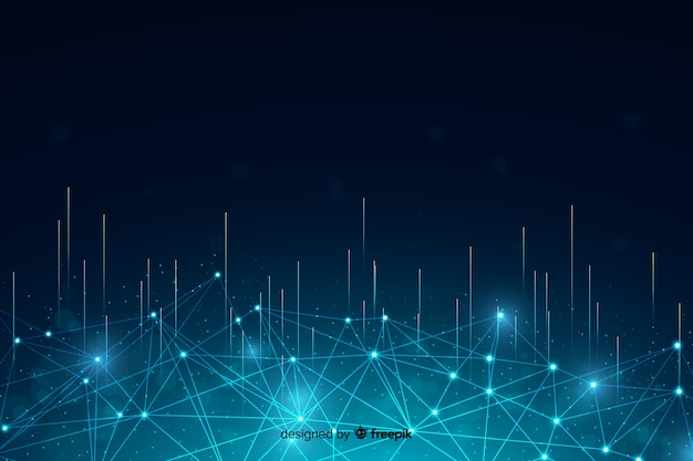 Abstrakcjonistyczny technologii cząsteczki tło z liniami