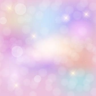 Abstrakcjonistyczny tęczy nieba fantazi tło z błyskotliwymi gwiazdami.