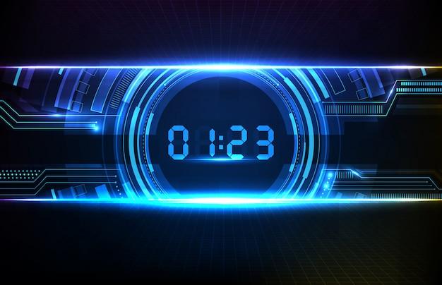 Abstrakcjonistyczny tło błękitnego hud futurystyczny element ładuje cyfrową liczbę