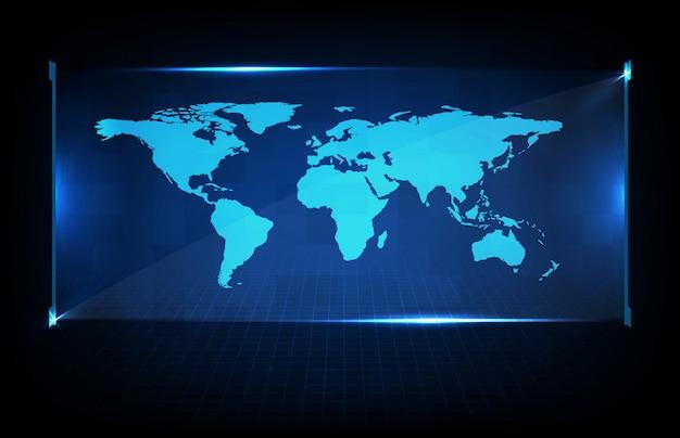 Abstrakcjonistyczny tło cyfrowy futurystyczny halgram hud interfejsu pokaz światowych map ziemia