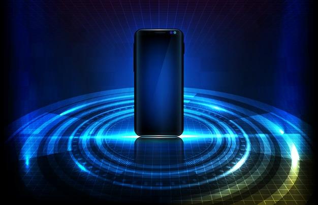 Abstrakcjonistyczny tło futurystyczna technologia. świecący inteligentny telefon komórkowy z elementem hud halogram vr