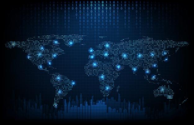 Abstrakcjonistyczny tło futurystycznej technologii cyfrowych kropek światowe mapy z miasta tłem, hightech parawanowy pojęcie